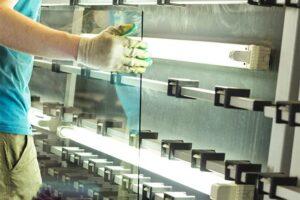 Arbeiter der Glaserei Marschall in München, mit einer Glasscheibe in der Hand