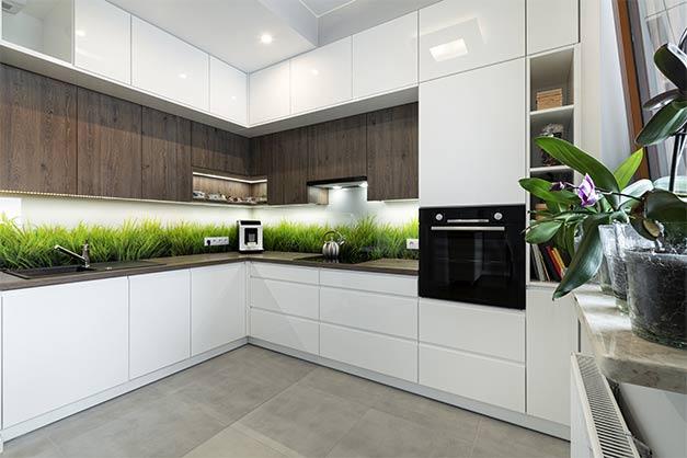 Bedruckte Küchenwand aus Glas in München